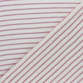 Tissu éponge jersey rayé - rose x 10cm