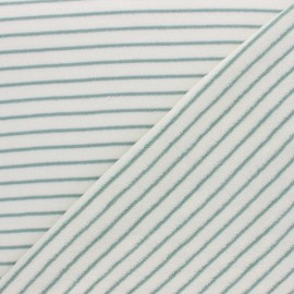 Jersey terry cloth fabric - Green Stripes x 10cm