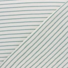 Tissu éponge jersey rayé - vert x 10cm