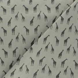 Tissu coton lavé Girafe - vert de gris x 10cm
