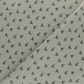 Washed cotton fabric - Grey Bird x 10cm