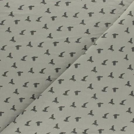 Tissu coton lavé Bird - vert de gris x 10cm
