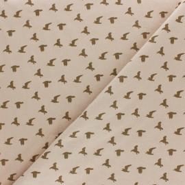 Tissu coton lavé Bird - Latte x 10cm
