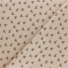 Washed cotton fabric - Latte Bird x 10cm