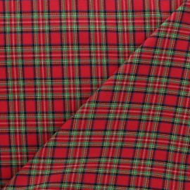 Scratched cotton fabric - Red Mini Aberdeen x 10cm