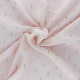 ♥ Coupon 130 cm X 140 cm ♥ Tissu viscose plumetis dorés France Duval - nude /or