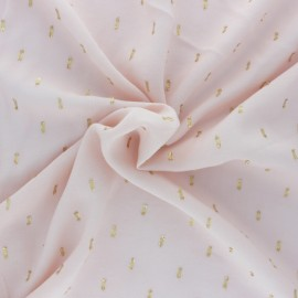 Tissu viscose plumetis dorés France Duval - nude /or x 10cm