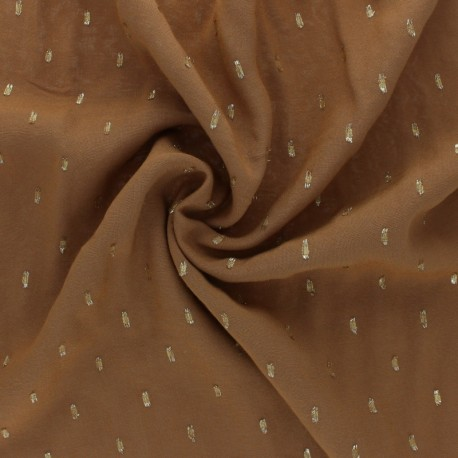 Tissu viscose plumetis dorés France Duval - camel/or x 10cm
