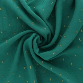 France Duval Stalla Viscose fabric - green/gold plumetis x 10cm