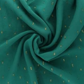 Tissu viscose plumetis dorés France Duval - vert/or x 10cm