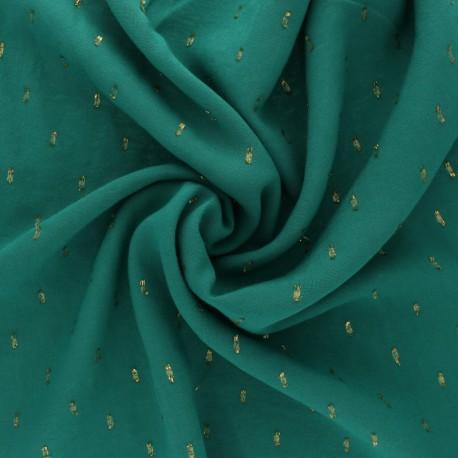 France Duval Stalla Viscose fabric - green/gold plumetis x 10cm