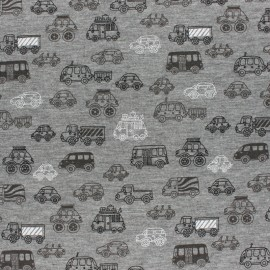 French Terry fabric - grey  Panda x 10cm