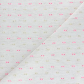 Tissu voile de coton Plumetis Lurex - écru x 10cm