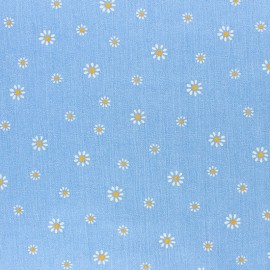 Embossed cotton chambray fabric - light blue x 10cm