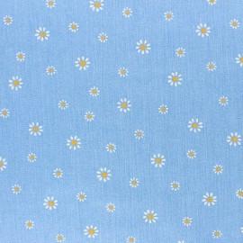 Tissu coton chambray gaufré Aspect jean Daisy - bleu ciel x 10cm