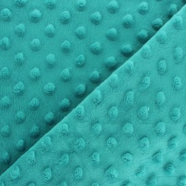 Soft relief minkee velvet fabric - blue laggon dots x 10cm