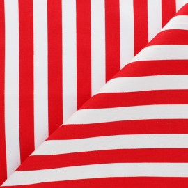 Striped twill Cotton Fabric - Red Grand Malo x 10cm