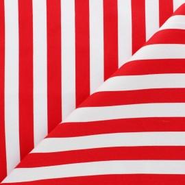 Tissu coton sergé rayé - Grand Malo rouge x 10cm
