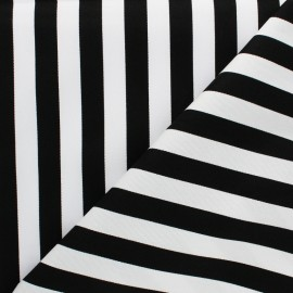 Tissu coton sergé rayé - Grand Malo noir x 10cm