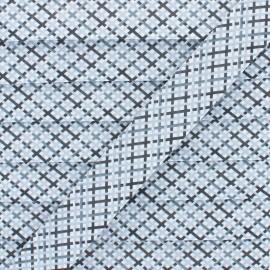 Biais Polycoton Quadri 20 mm - Gris x 1m