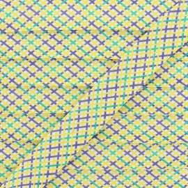 Biais Polycoton Quadri 20 mm - Jaune x 1m