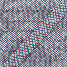 Biais Polycoton Quadri 20 mm - Bleu Canard x 1m