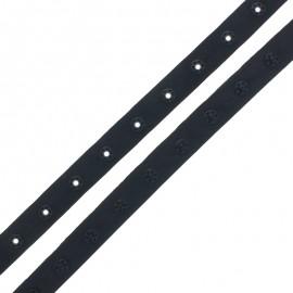 Ruban Polyester Bouton Pression - Noir x 1m