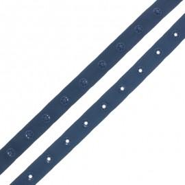 Ruban Polyester Bouton Pression - Bleu Marine x 1m