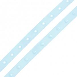 Ruban Polyester Bouton Pression - Bleu Ciel x 1m