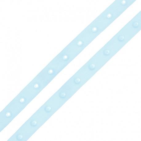 Snap Fastener Polyester Ribbon - Sky Blue x 1m