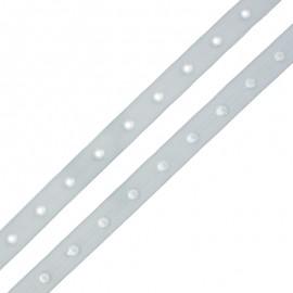 Ruban Polyester Bouton Pression - Gris Clair x 1m