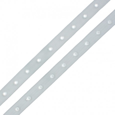 Snap Fastener Polyester Ribbon - Light Grey x 1m