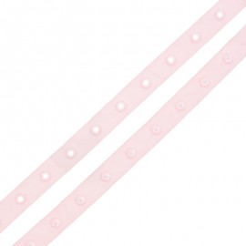 Ruban Polyester Bouton Pression - Rose Dragée x 1m