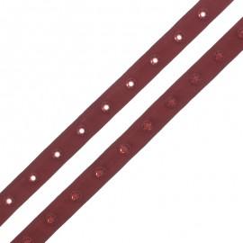 Ruban Polyester Bouton Pression - Terre Brûlée x 1m