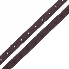 Ruban Polyester Bouton Pression - Chocolat x 1m