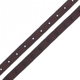 Snap Fastener Polyester Ribbon - Chocolate x 1m
