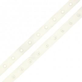 Ruban Polyester Bouton Pression - Écru x 1m