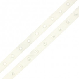 Snap Fastener Polyester Ribbon - Off-White x 1m
