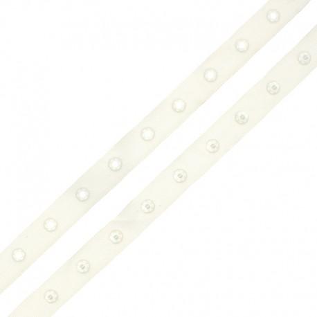 Snap Fastener Polyester Ribbon - Off-White x 1m