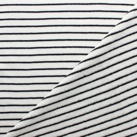 Tissu éponge jersey rayé - noir x 10cm