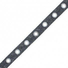Eyelet Ribbon - Black Sparkle x 50cm