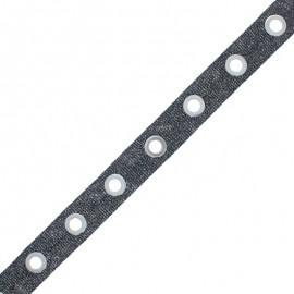 Ruban à Oeillets Sparkle - Noir x 50cm