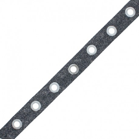 Eyelet Ribbon - Black Sparkle x 50cm
