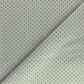 Tissu coton lavé à pois - vert de gris x 10cm