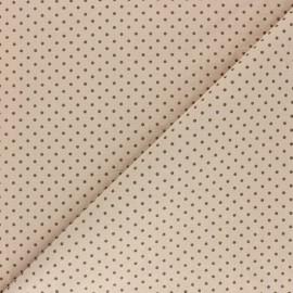 Tissu coton lavé à pois - Latte x 10cm