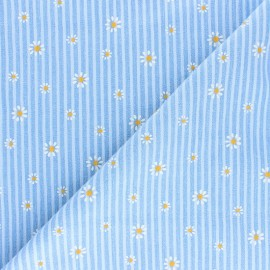 Embossed cotton chambray fabric - light blue Daisy x 10cm
