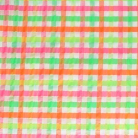 Elastane Seersucker fabric - pink Little gingham x 10cm