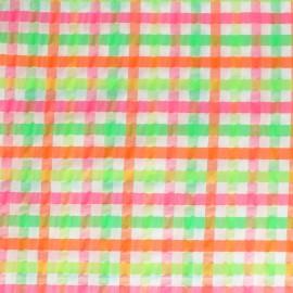 Tissu Seersucker petit vichy élasthanne - rose x 10cm