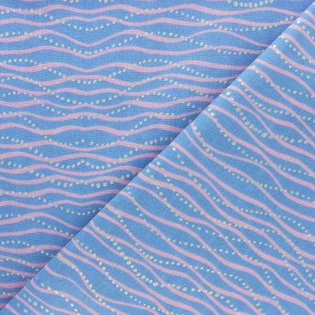 Tissu Double Gaze de coton Rico Design Vague - bleu ciel x10cm