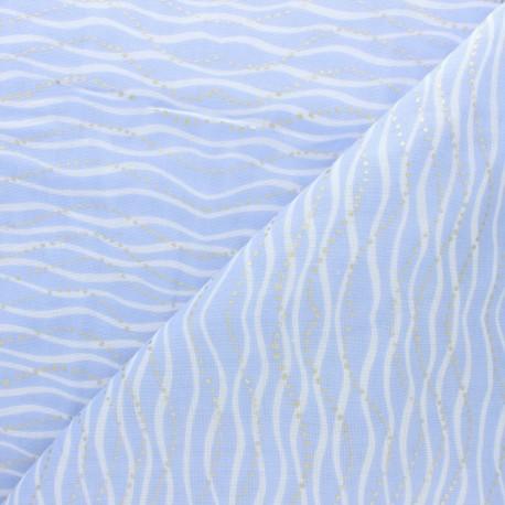 Tissu Double Gaze de coton Rico Design Vague - lilas x10cm